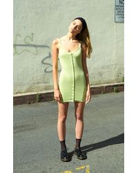 Kendall + Kylie Knit Snap Front Bodycon Dress - Green