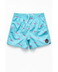 "Maui & Sons Savage Shark 17"" Swim Trunks - Blue"