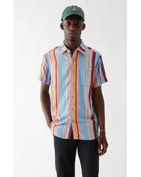 Barney Cools Striped Woven Camp Shirt - Blue