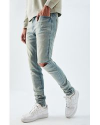 PacSun Light Ripped Splatter Skinny Jeans - Blue