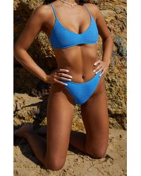 LA Hearts by PacSun Medium Blue Eden Scrunch High Waisted Bikini Bottom