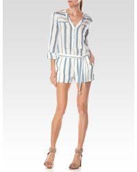 PAIGE - Raleigh Striped Cotton Romper - Lyst