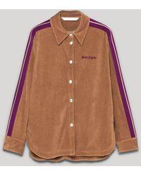 Palm Angels サイドストライプ コーデュロイシャツ - ブラウン