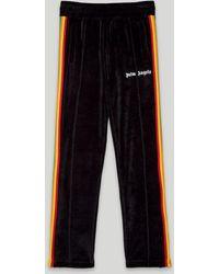 Palm Angels Rainbow Chenille Track Pants Black White - ブラック