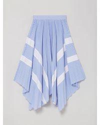 Palm Angels Pinstripe Pleated Skirt - Blue