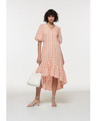 Palones Apricot Gingham Puff Sleeve Dress - Pink
