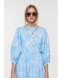 Palones Floral Poplin Puff Sleeve Dress - Blue