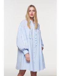 Palones Stripe Ruffle Seersucker Shirt Dress - Blue