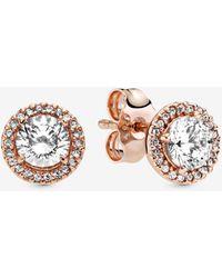 PANDORA Round Sparkle Halo Stud Earrings - Multicolour