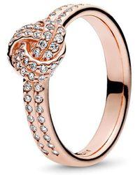 PANDORA Sparkling Love Knot Ring - Metallic