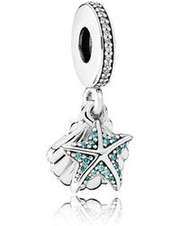 PANDORA - Tropical Starfish & Sea Shell Pendant Charm - Lyst
