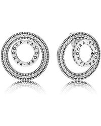 PANDORA - Forever Signature Stud Earrings - Lyst