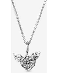 PANDORA Pavé Heart And Angel Wings Necklace - Metallic