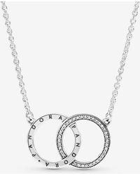 PANDORA Entwined Circles Logo & Sparkle Collier Necklace - Metallic