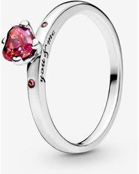 PANDORA - Sparkling Red Heart Ring - Lyst