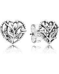 PANDORA - Flourishing Hearts Stud Earrings - Lyst
