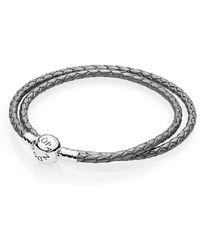 PANDORA - Moments Double Woven Leather Bracelet, Silver Grey - Lyst