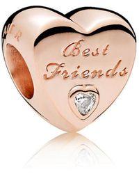 PANDORA - Friendship Heart Charm - Lyst