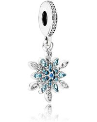 PANDORA - Crystallised Snowflake Pendant Charm - Lyst