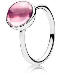 PANDORA - Pink Poetic Droplet Ring - Lyst