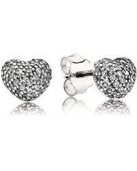 PANDORA - Pavé Heart Stud Earrings - Lyst