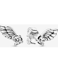 PANDORA Sparkling Angel Wing Stud Earrings - Metallic