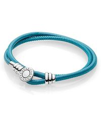 PANDORA - Moments Double Leather Bracelet, Turquoise - Lyst