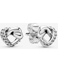 PANDORA Knotted Heart Stud Earrings - Multicolour