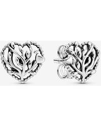 PANDORA Family Tree Heart Stud Earrings - Metallic