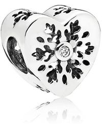 PANDORA - Snowflake Heart Charm - Lyst