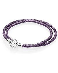 PANDORA - Moments Double Woven Leather Bracelet, Purple - Lyst