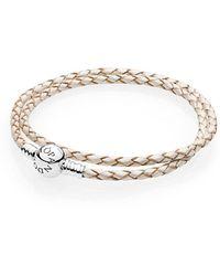 PANDORA - Moments Double Woven Leather Bracelet, White - Lyst