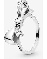 PANDORA Brilliant Bow Ring Size 9 197232cz60 - Metallic