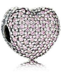 PANDORA - Pink Pavé Open My Heart Clip - Lyst