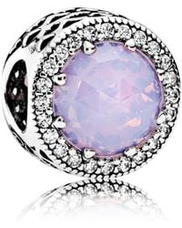 PANDORA - Opalescent Pink Radiant Hearts Charm - Lyst