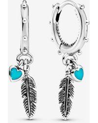 PANDORA Turquoise Hearts & Feather Hoop Earrings - Multicolour
