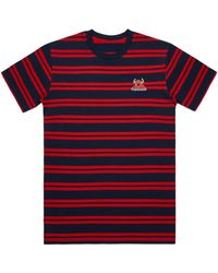 Toy Machine Striped Monster Embroidery Tee Navy/red - Blue
