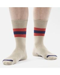 Universal Works Sport Stripe Sock Ecru - White