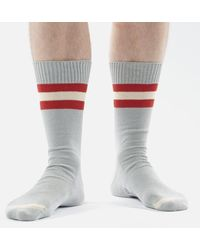Universal Works Sport Stripe Socks Grey - White