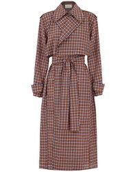 Cedric Charlier Tailored Trench Coat Brown Check