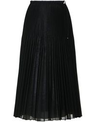 Fendi Organza Pleated Skirt Black