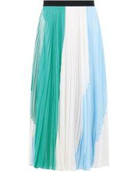 Emilio Pucci - Pleated Stripe Skirt White/green/blue - Lyst