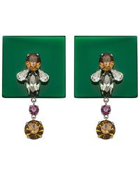 Sylvio Giardina - Perspex Square Drop Earrings Dark Green - Lyst