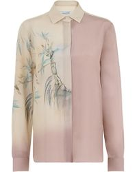 Valentino - Silk Shirt Ethereal Bird Print Blush Pink/cream - Lyst