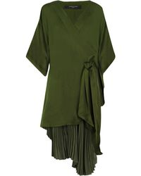 Mother Of Pearl Izzy Pleated Kimono Dress Forest Green