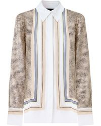 Proenza Schouler Scarf Print Button Up Blouse L/s Peach/white