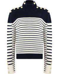 JW Anderson - L/s Stripe Turtleneck Knit White/navy - Lyst