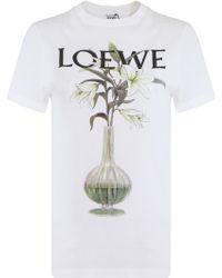 Loewe - Logo Printed Cotton Jersey T-shirt - Lyst