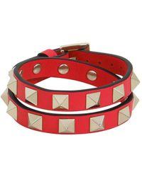 Valentino Garavani Rockstud Wrap Leather Cuff Rouge - Red