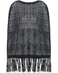 Valentino Fringed Lace Poncho - Black